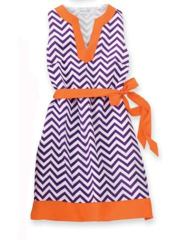 Glamorous for gameday in chevron and stripes, Clemson fans!