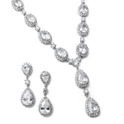 Bridal Necklace Set with Cubic Zirconia Pear and Ovals