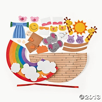 Paper plate noah s ark craft kit a piece vbs for Noah and the ark crafts