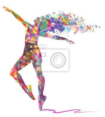 Wall Mural silhouette di ballerina composta da colori