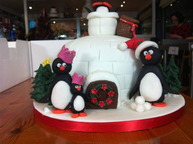 Christmas cake. Igloo. Drunk penguins.
