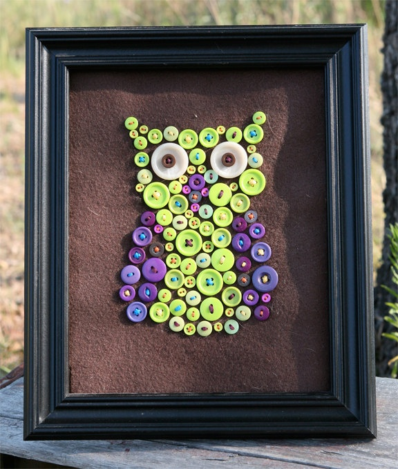 Purple & Green Owl Made of Buttons. $35.00, via Etsy.