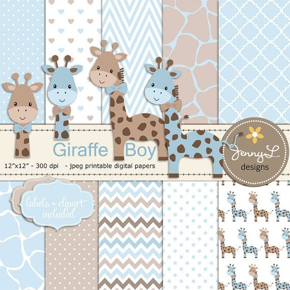**CHECK OUT my shops profile for promo / coupon codes: https://www.etsy.com/shop/JennyLDesignsShop These Giraffe Boy Baby Blue Shower Digital Papers and Clipart, Boy Baptism, Dedication, Birthday, Baby Giraffe Clipart, Giraffe Print, Animal Print 12x12 are ideal for creating various art projects such as scrapbook layouts, invitations, greeting card, labels, gift tags, stickers, and more. PRODUCT DESCRIPTION: • • • • • • • • • • • • • • • • • • • • • • • • • • • • • ...