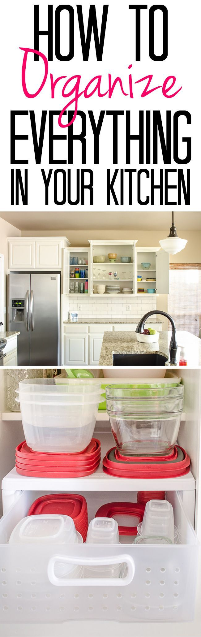 Tips and Tricks for an Organized Kitchen - See how I Organize Cabinets from plasticware to grocery store bags!