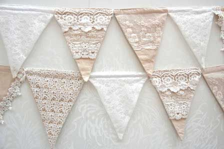 DIY; lace bunting. Can use old lace curtains from thrift store and scraps of fabric for the backing