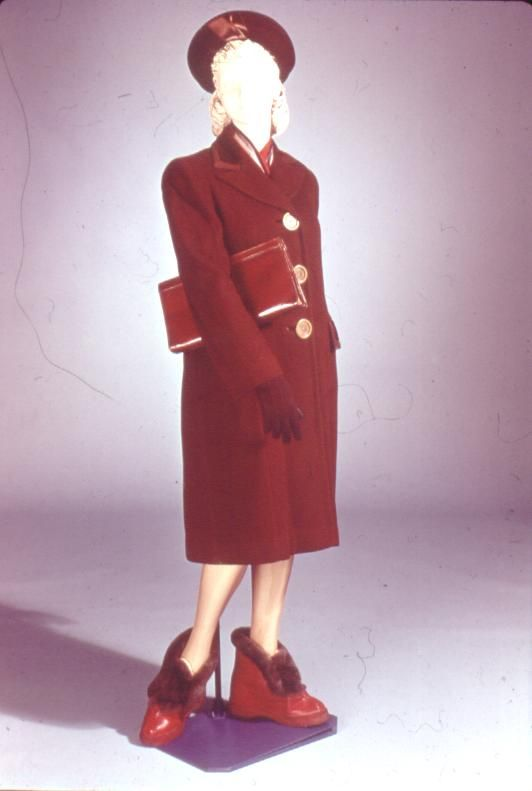 Slide No. 77   1940's   Women's Chesterfield coat - velvet collar, large buttons of plastic,  Galoshes-boots, clutch purse.