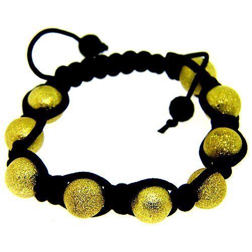 Black & Gold Hip Hop Shamballa Disco Ball Macrame Bling Bracelet The Bling King. $9.95