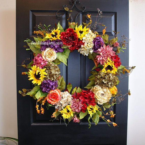 All Occasion Welcome Wreath Jewel Tone Floral Winter Spring Summer Door Decor