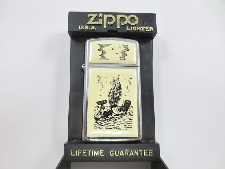 ZIPPO USA Cigarette Lighter New Old Stock w Case SLIM F XI 1659 SCRMSHW WHALE