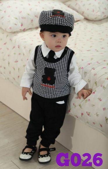 Male Dragon Teddy boy set 4 in 1 (topi, kemeja putih, dasi, rompi dan celana) (G026) || Size 80-120 (6 bulan-5 tahun) || IDR 155.000