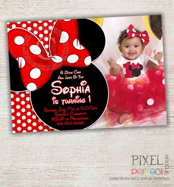 Minnie Mouse Birthday Invitation Red By PixelPerfectShoppe 2500