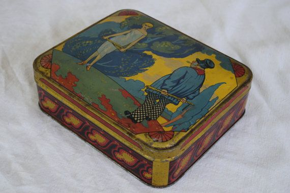 A 1920s tin box which is made in France. A Flapper Girl with Racket and Strange Old Man with club. I am not sure what this is but I have wondered if