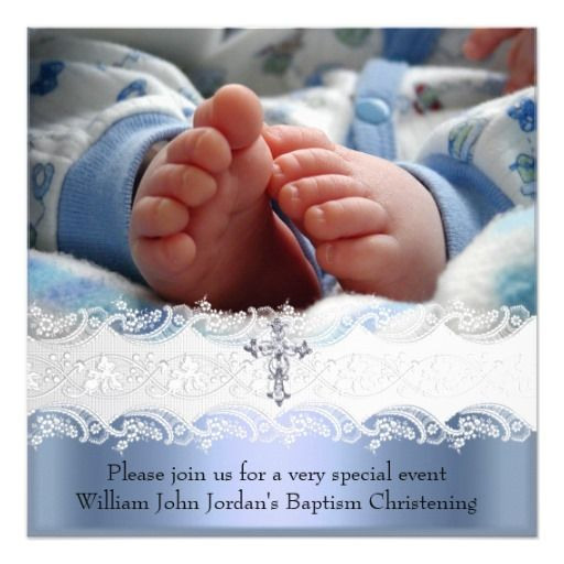 Baptism Blue White Lace Photo Jewel Cross Boy