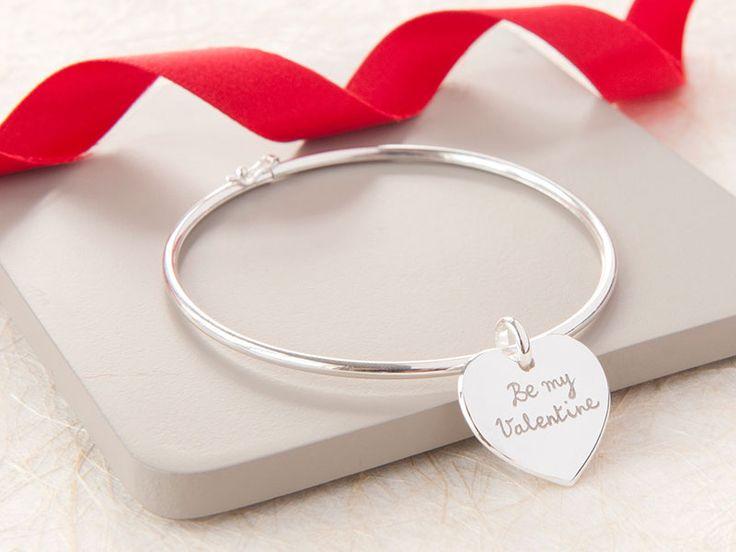 Personalised Heart or Disc Bangle. #valentine #valentinegift #gift #bangle