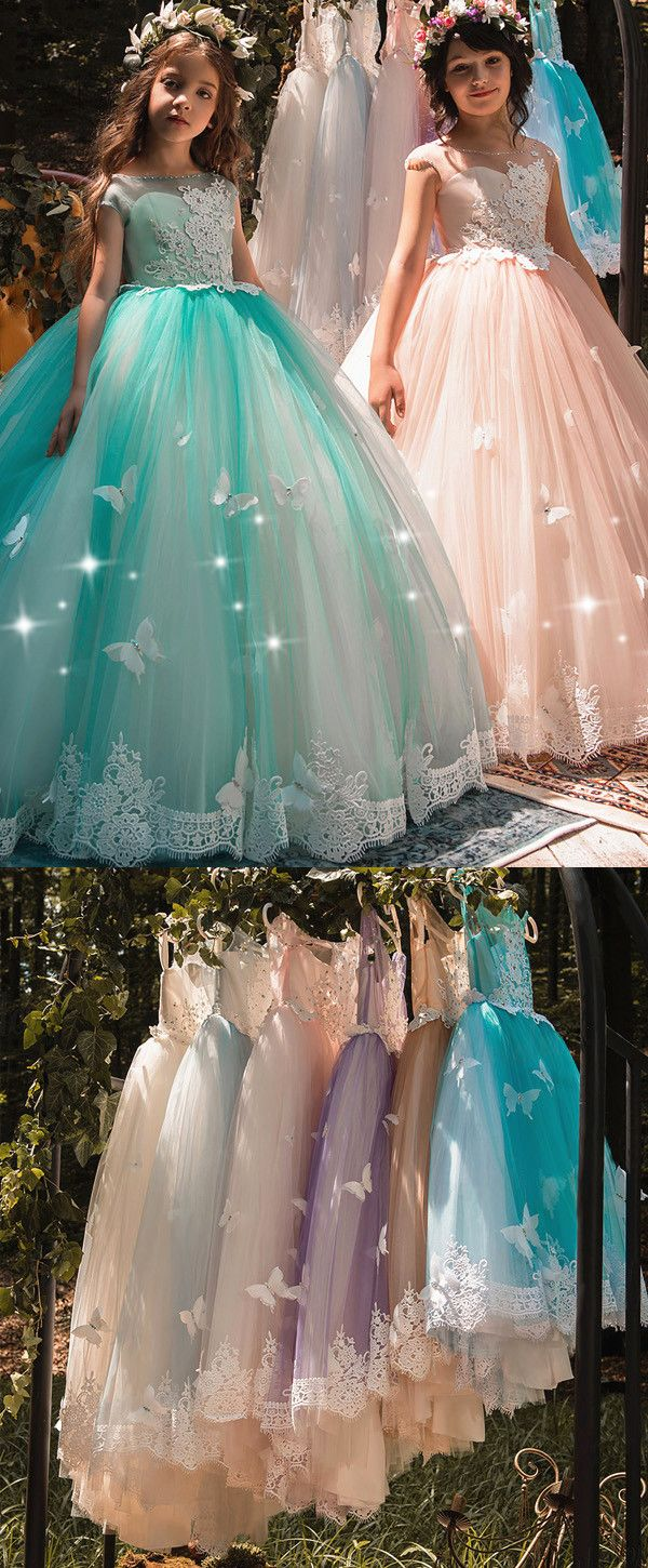 NEW! Exquisite Tulle Bateau Neckline Cap Sleeves Ball Gown Flower Girl Dresses With Lace Appliques & 3D Butterflies & Beadings
