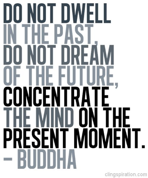 Do not dwell in the past,do not dream of the future, concentrate the mind on the present moment.-Buddha