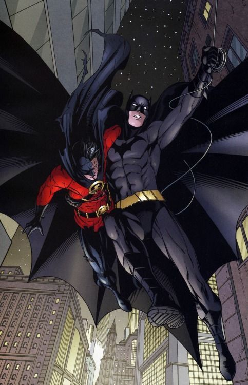 Red Robin (Tim Drake) and Batman (Dick Grayson), Brothers Context: Tim defeated Ra's al Ghul, which ticked him off. Ra's tried to kill Tim by throwing him out the window. Thankfully, Dick was there to catch him.