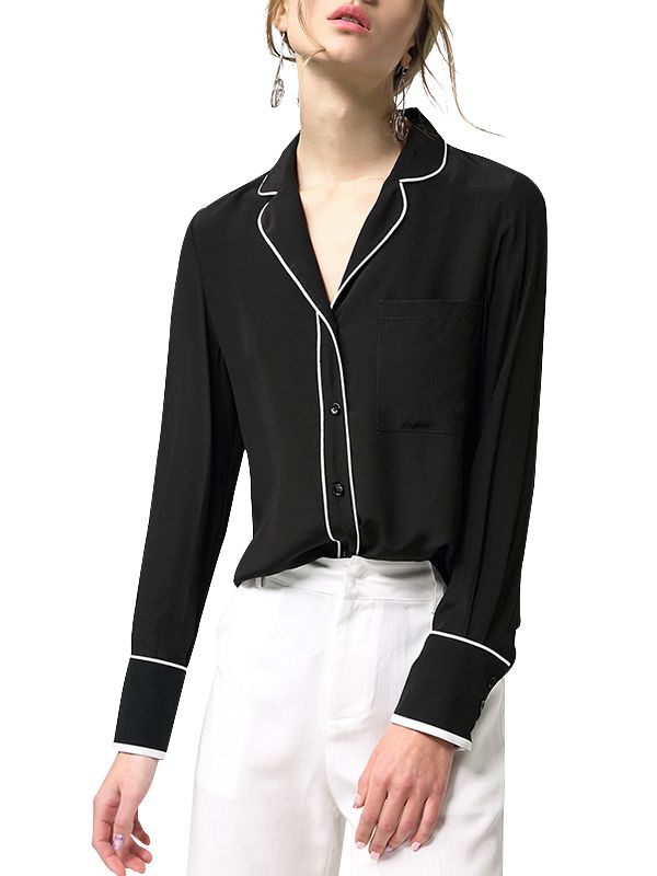 Black Silk Shirt With Contrast Binding
