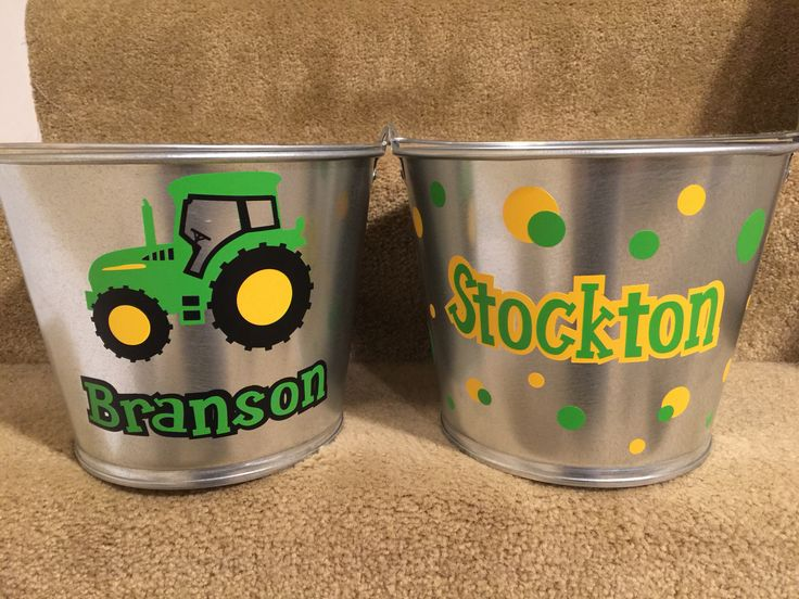 Easter Buckets - made with vinyl and my silhouette cameo. I ❤️ making these! Especially the John Deere tractor one!!