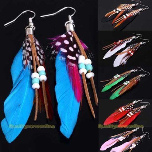 QZO-Fashion-Exotic-Bohimia-Style-Indian-Feathers-Beads-Pendant-Earrings