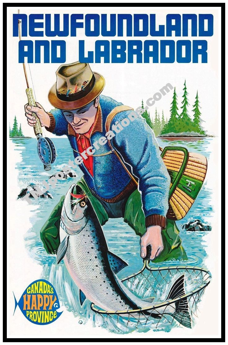 Newfoundland and Labrador Promotional Poster-Canada's Happy Province-Fishing by MyGenerationShop on Etsy