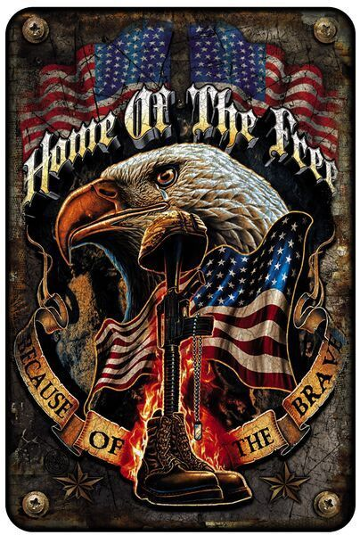 (WAT)-(METAL PARKING SIGN)-(Home Of The Free Because Of The Brave)-()-(638401721462)-(8IN X 12IN) - 8IN X 12IN - METAL ALUMINUM SIGN