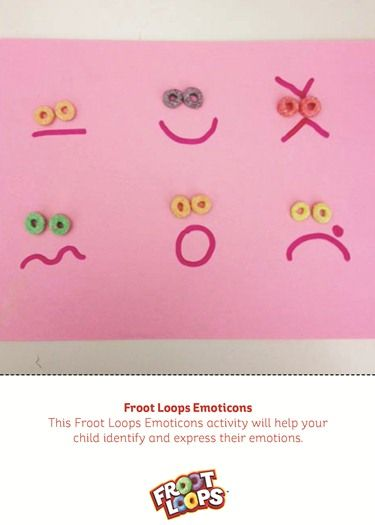 Help your child identify and express their emotions with this Froot Loops Emoticons Busy Bag! Get the expressions started with a marker, then ask your child to place Froot Loops as eyes and tell you the emotion the expression represents. #busybag #preschool #kidsactivities