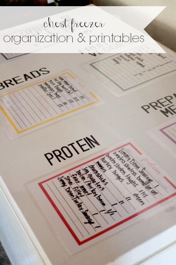 chest freezer organization & printables