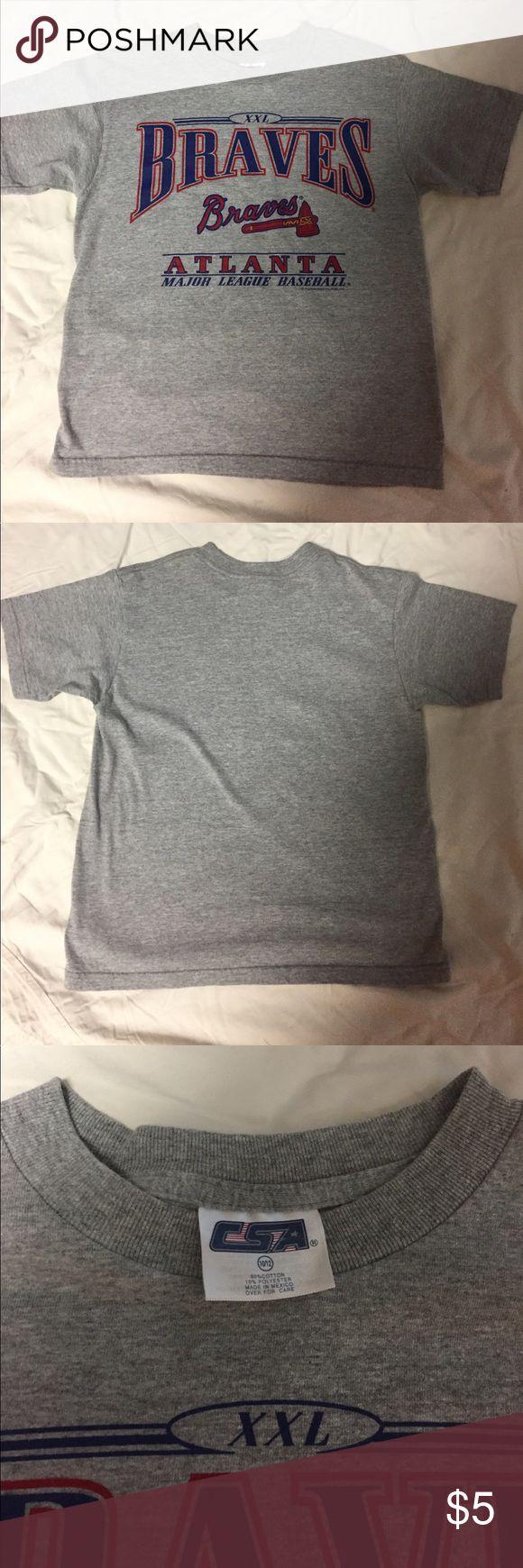Boys or Girl Atlanta Braves Tshirt Grey Kids size 10-12 CSA Shirts & Tops Tees - Short Sleeve