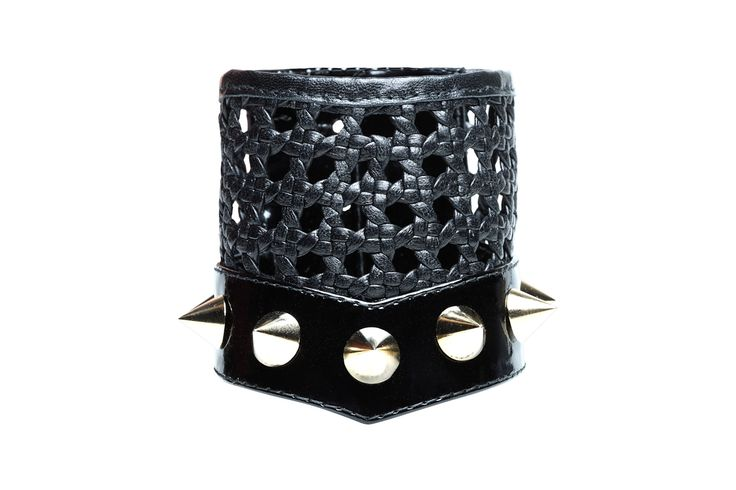 Bruna, hand woven leather bracelet with studs
