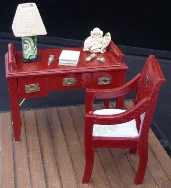 diy Asian inspired miniature dollhouse desk