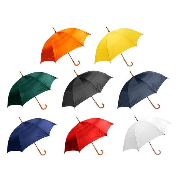 COD.IN017 Paraguas ejecutivo con cuerpo y mango curvo de madera barnizada. Varas reforzadas de fibra de vidrio, sistema de apertura automático, 8 cascos tela Nylon.