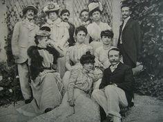 Anna de Noailles.  From left to right, standing: Prince Edmond de Polignac, Princess of Brancovan, Marcel Proust, Prince Constantin Brancoveanu (brother of Anna de Noailles), Léon Delafosse. 2nd row: Madame de Montgenard, Princesse de Polignac, Countess Anna de Noailles, 1st row: Princess Helen Caraman-Chimay (sister of Anna de Noailles), Abel Hermant.    (http://theredlist.fr/wiki-2-24-525-770-943-view-1910s-3-profile-anna-de-noailles.html#)
