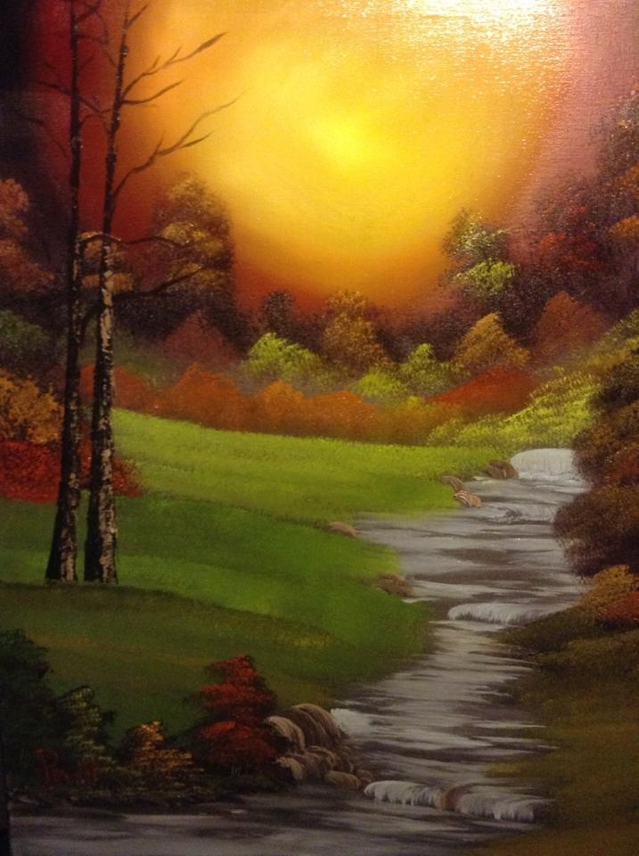"""Beautiful """"Bob Ross"""" style oil painting done by my husband:)"""