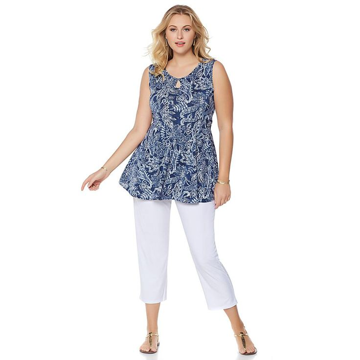 Slinky® Brand 2-piece Printed Sleeveless Tunic and Cropped Pant - Paisley/White