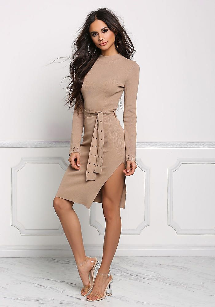 Coffee Ribbed Knit Belted Bodycon Dress - Dresses