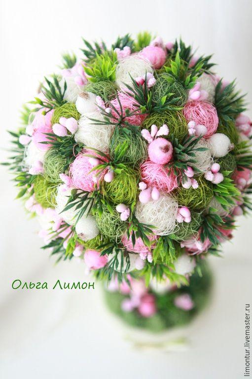 """Купить Топиарий """"Розовый бонсай"""" - зеленый, розовый, топиарий, Дерево счастья, настоящее, дерево"""