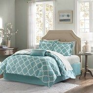 The Teal Blue Fretwork Complete Queen Size Comforter and Sheet Set creates a simple yet coastal chic look in your home. The on-trend fretwork design creates a modern look with its white design on a du