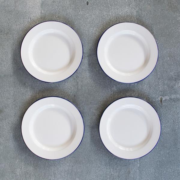 Falcon enamel plate, flat 24cm, set of four