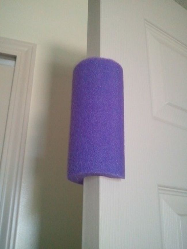 16.) A cut pool noodle can prevent doors from slamming--and catching little hands.