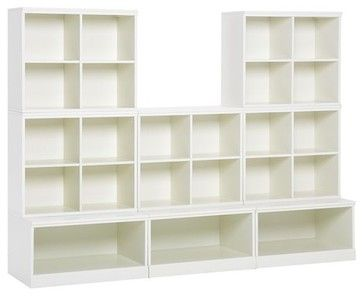 Den or playroom storage. Cameron 5 Cubby and 3 Open Base Set - modern - toy storage - Pottery Barn Kids
