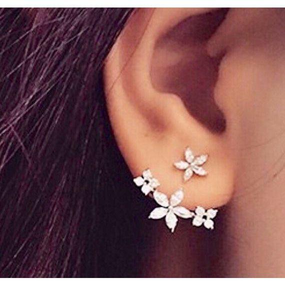 Silver Cz Flower Ear Jacket