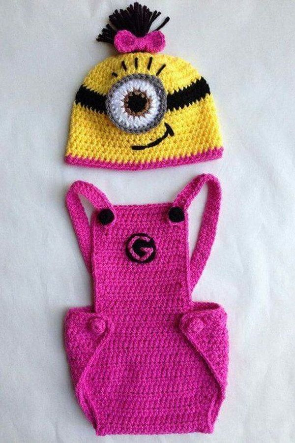 Minion Baby Crochet Outfit Free Pattern.