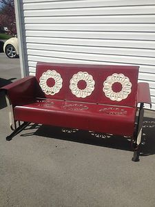 VINTAGE BUNTING GLIDER Co PATIO GLIDER GORGEOUS CHIC RED ~ RETRO STEEL  FLORAL