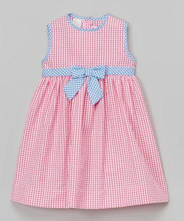 Look at this #zulilyfind! Pink Gingham Seersucker Dress - Infant, Toddler & Girls by SIMI #zulilyfinds