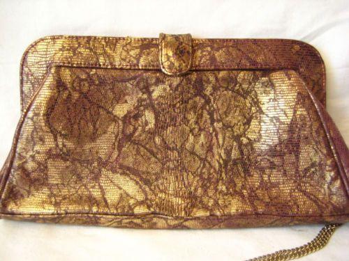 Vintage-Tasche-Handtasche-80er-Gold-Violett-Clutch-Chain-Kette-Abendtasche