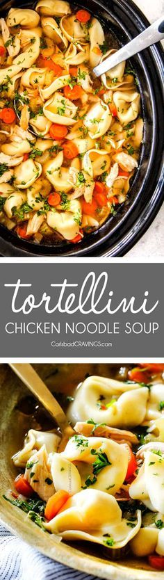 SO MUCH BETTER with TORTELLINI! This is the BEST Slow Cooker Chicken Tortellini Soup you will ever try! It's super easy, seasoned to perfection and a comforting, satisfying dinner any night of the week! via @carlsbadcraving