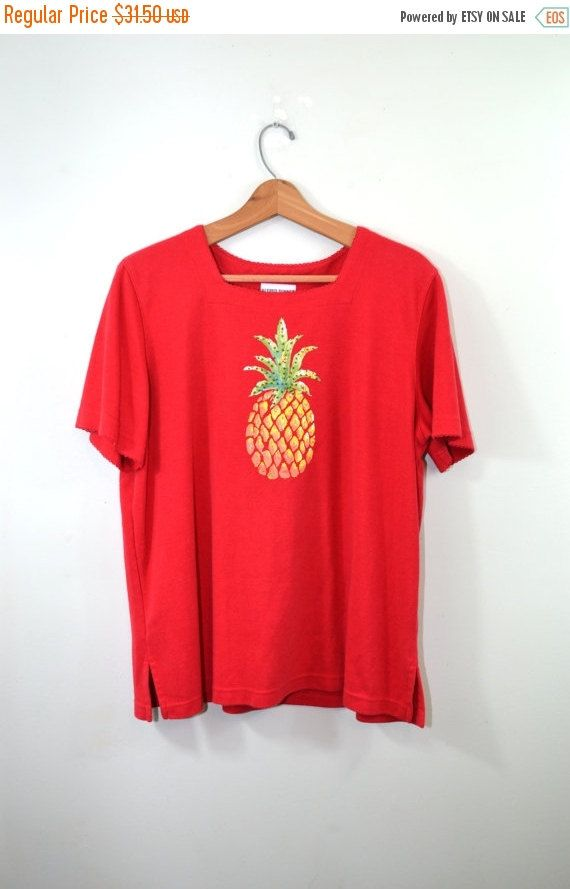 ON SALE Vintage T Shirt Pineapple Shirt by founditinatlanta
