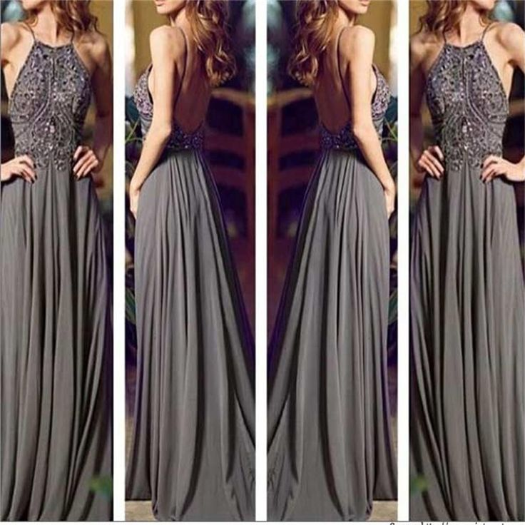 Long Prom Dresses, Gray Prom Dresses, Chiffon Prom Dresses, Popular Pr – SposaDesses