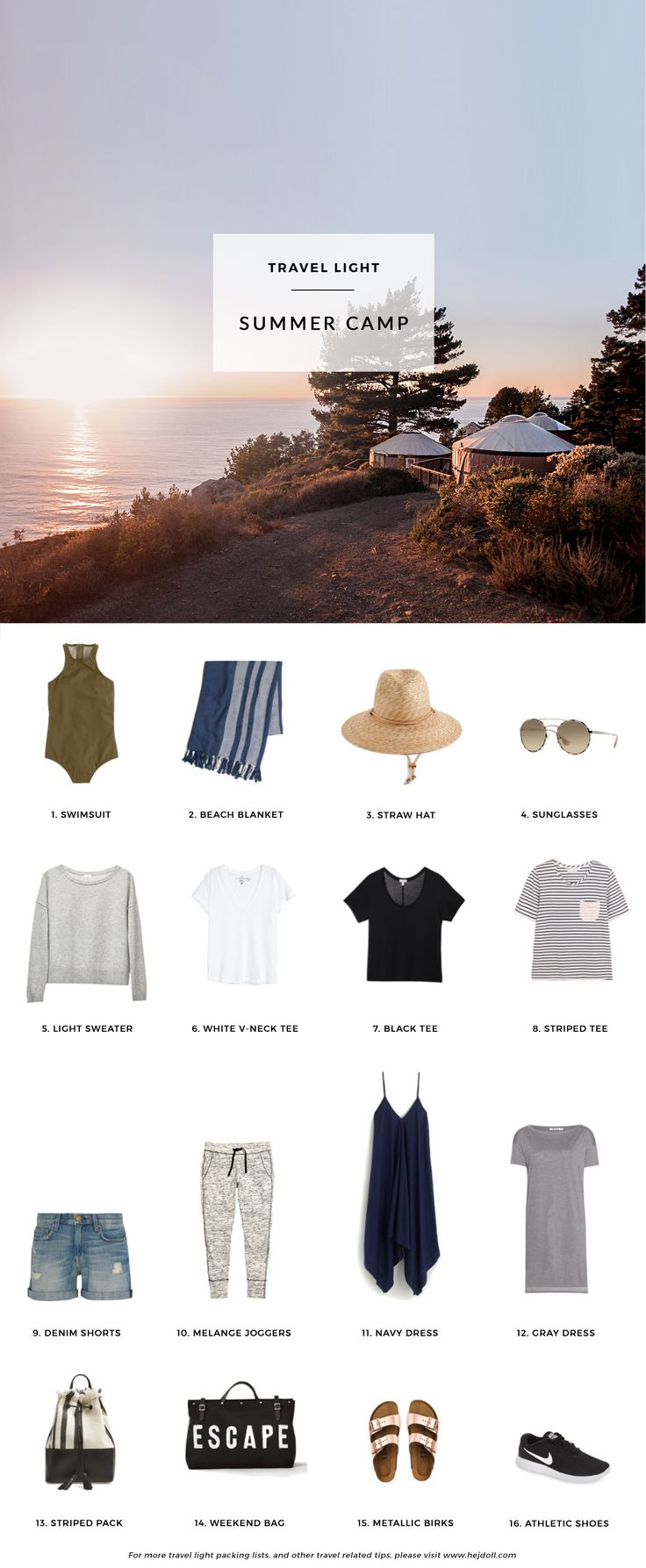 1. J.Crew High-Neck Swimsuit / 2. Marine Layer Jetties Beach Blanket* / 3. J.Crew Wide Brim Hat / 5. Prada Sunglasses / 6. Cuyana Boatneck Sweater* / 6. H&M White V-Neck Tee* / 7. Cuyana Black Scoop T